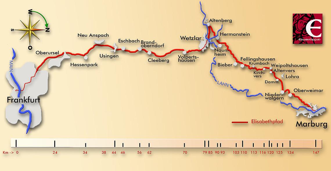 Elisabethpfad 1 von Frankfurt nach Marburg